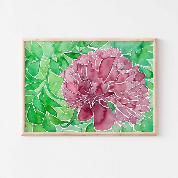 Kunstplakat mit Blumen Gemälde | Esszimmer Deko