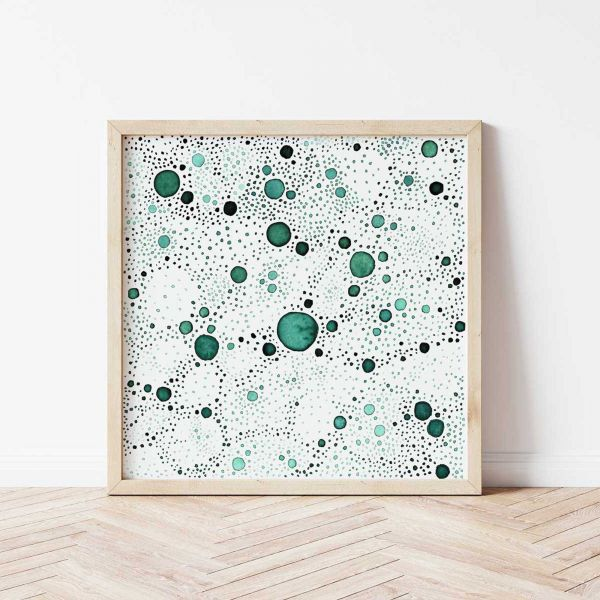Geometric Poster of Green Abstract Art 'Moss Green I'