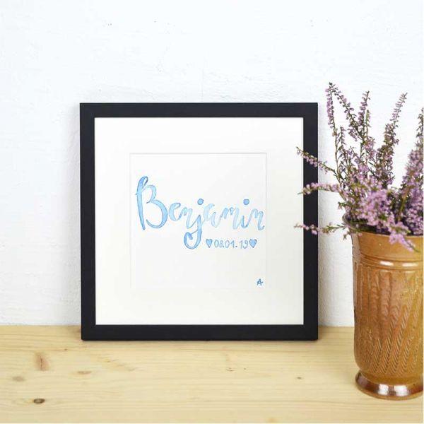 Baby Namensschild Blau – Geschenk zur Geburt