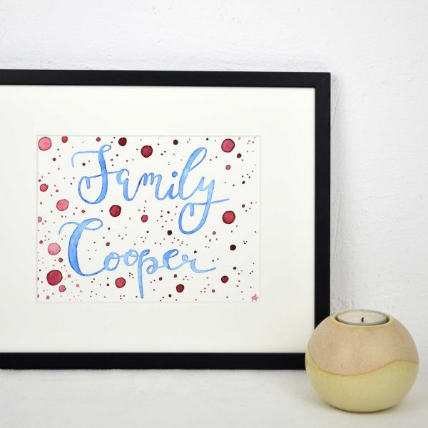 Personalized Family Name Sign in Blue and Red with Dots
