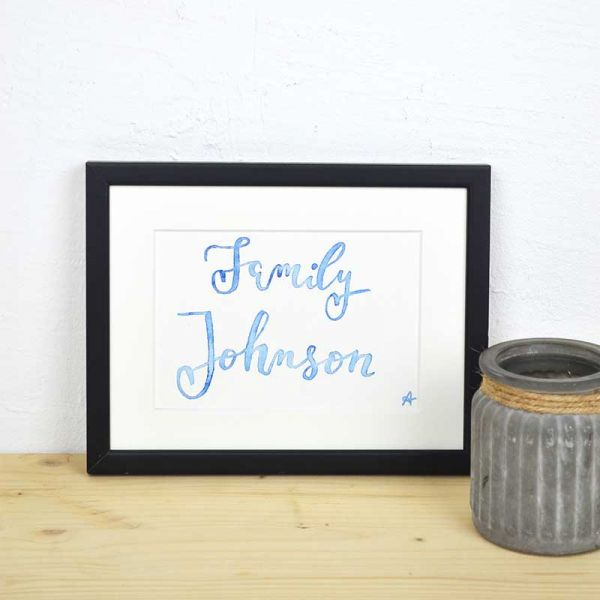 Custom Last Name Sign in Blue – Gift for Newlyweds