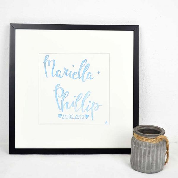 Wedding Name Sign in Blue – Wedding Anniversary Gift