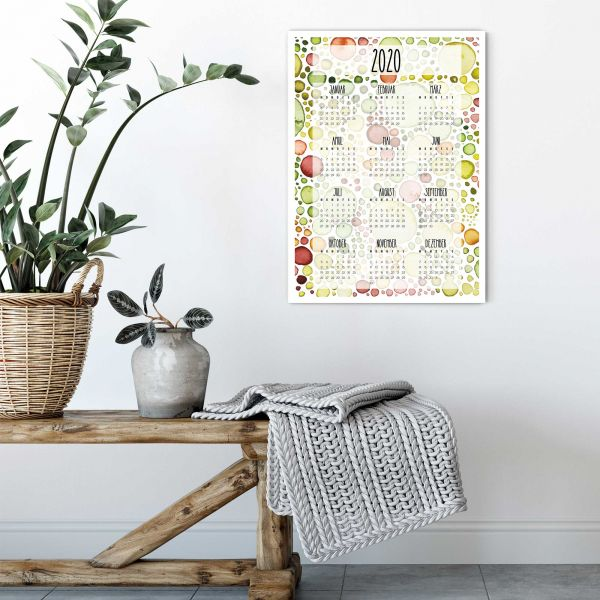 Printable Annual Calendar 2020 Lemna Portrait Layout