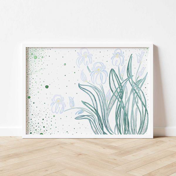 Kunstdruck mit Blumen Gemälde fürs Wohnzimmer
