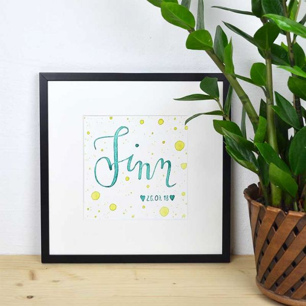 Personalized Baby Name Sign Green and Yellow