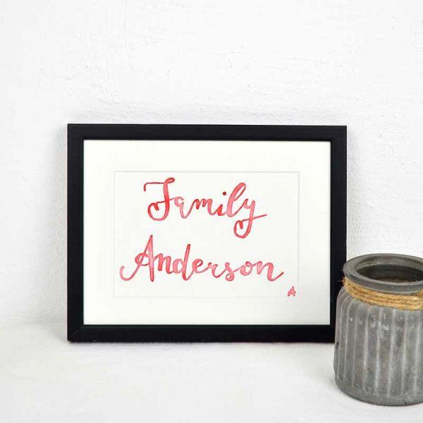 Familienschild in Rot – Hochzeitsgeschenk