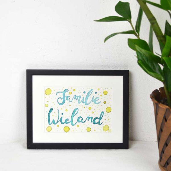 Familienschild Grün und Gelb mit Punkten – persönliches Geschenk Jahrestag