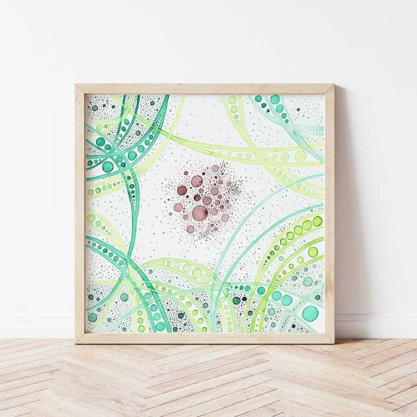 Poster as Wall Art with Green Abstract Artwork 'Hold Space II'