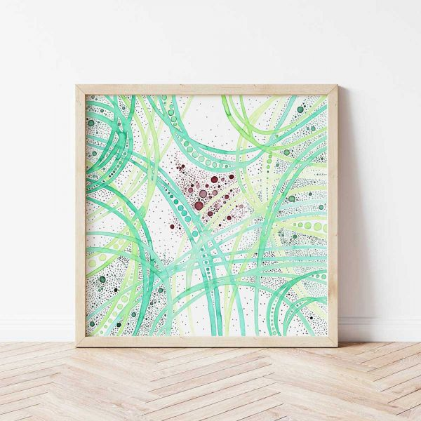Contemporary Wall Art: Poster with Colourful Abstract Art 'Hold Space I'