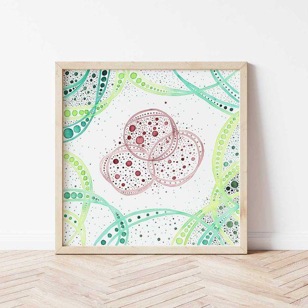 Quadratisches Poster mit modern abstraktem Bild 'Hold Space III'